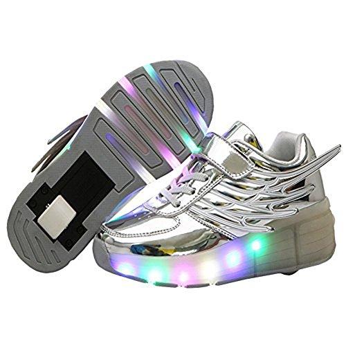 Meurry Unisexe LED Light Roller Skate Sneakers Enfants Filles Garçons Adultes Outdoor Trainers Avec une roue Adult Flashing Chaussures Anniversaire Halloween Cadeau de Noël Argent