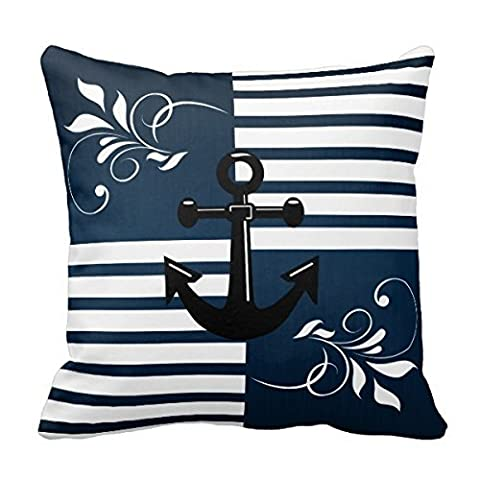 Generic Nautical Stripes With White Accents And Anchor Throw Pillow Cover Throw Pillow Case Decor Cushion Covers Square With Invisible Zipper Closure - 18X18 Inches, One-Sided (Stripe Accent Pillow)