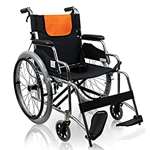 EMOGA Wheelchair Folding Lightweight With Full-Length Arms And Elevating Leg Rests,47Cm Seat,4 Brakes Transport Wheelchair