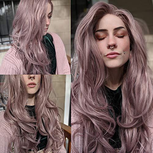 Fantasy Beauty Peluca encaje color rosa ceniza encaje