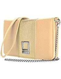 Vangoddy Beige / Gold Ladies' Handbag Clutch For Zte Phones (MB_LENLEA138_ZTE)