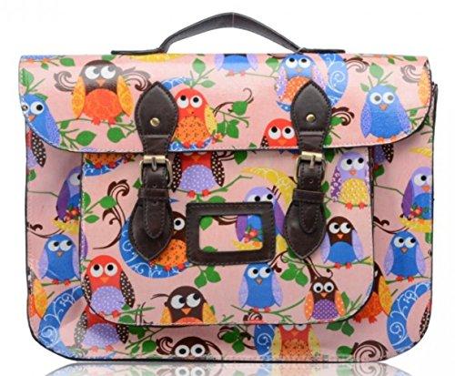 LeahWard® Damen Mode Satchels Große Größe Qualität Oilclotch 15 Umhängetasche Handtaschen A4 CW7277 CW7277-Eule3-Rosa