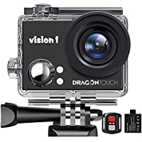 "Dragon Touch 1080P Action Camera, Underwater 98ft Video Sports Cam with 2"" LCD Screen, Remote and Mounting Accessories Kits-Vision 1"