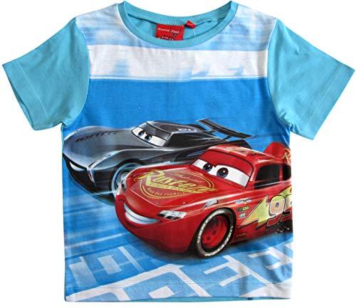 Cars Disney 3 T-Shirt Kurz Lightning McQueen Jungen (Blau, 104) (Pyjamas Lightning Mcqueen)