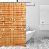 COOSUN Basketball Court Grundriss Duschvorhang Set Polyester-Gewebe Wasserabweisend Badezimmer Duschvorhang Set Hauptdekoration mit Haken, 72W X 72L inches 72x72 Unisex