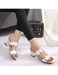 Dony Señora sandalias de tacón con cool zapatillas y tacones altos,blanca,44