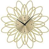 AMS Wanduhr 9361 moderne Quarzuhr goldfarben Blumen Design in Kunststoff Metallzifferblatt Quarzwerk