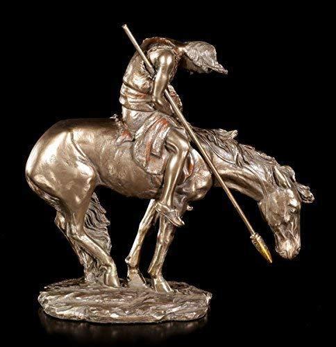Indianer Figur auf Pferd - End of Trail | Western Deko Statue Reiter Bronze-Optik