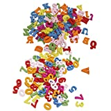 MagiDeal 200 Pezzi Colorati Numeri E Lettere In Legno Flatback Pulsanti Arredamento Artigianato Accessorio Creatività Decorativo
