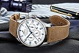 PARNIS Complication 2109 Automatik Herrenuhr Edelstahl-Armbanduhr Lederarmband MIYOTA Schnellschwinger Kaliber 9100 mit Vollkalender und Gangreserve-Anzeige - 5