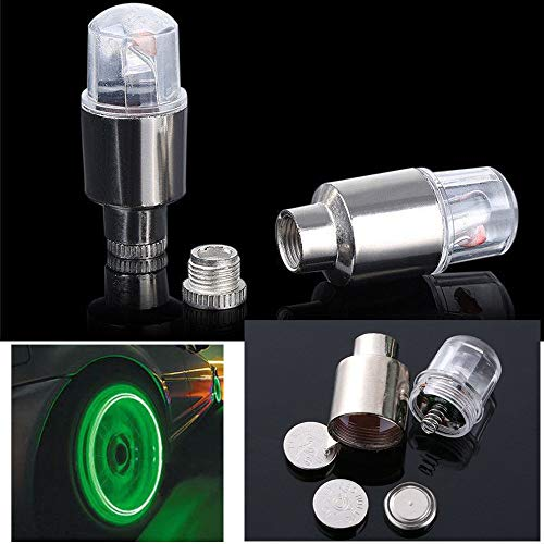 YiGaTech 2 stücke LED Wasserdichte Auto Bike Fahrrad Reifen Rad Ventilkappe Ventil Leucht Blitz Licht Lampe für Fahrrad, Auto, Motorrad oder LKW (Grün)