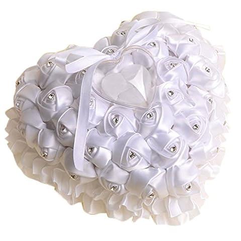 Yosoo 16.5*17cm Simulation Diamant Ring Kissen, Diamant Rosa Ring Kissen Feld Hochzeit Zubehör, Geschenk Zum Muttertag (Weiß)