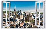 City Skyline Aachen Dom Sommer Wandtattoo Wandsticker Wandaufkleber F1448 Größe 60 cm x 90 cm