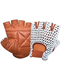 PRIME LEATHER REAL LEATHER FINGER LESS GLOVE WITH NET GYM TRAINING BUS DRIVING CYCLING GLOVES TAN-WHITE MESH 403