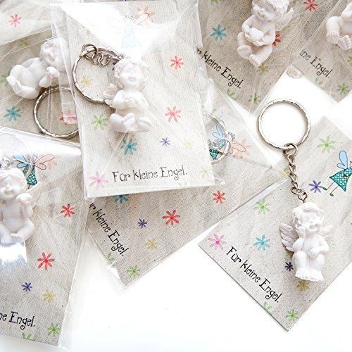 Geschenk-karte Mit Geschenk-korb (20 Stück weiße Mini-Engel Schutzengel Engel-Anhänger Hochzeit Kinder-Geburtstag Kommunion 3,5 cm aus Gips mit kleiner Mini-Gruß-Karte