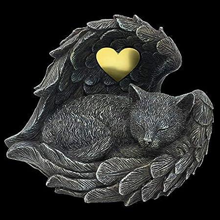 Katzen Urne grau als Katzen-Engelfigur im Flügel, Tierurne