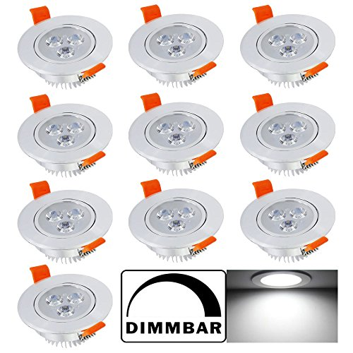 Hengda® 10X 3W Led Einbaustrahler kaltweiß Leuchte 85-265V AC mit Treiber Einbauspot Dimmbar 255 Lumen