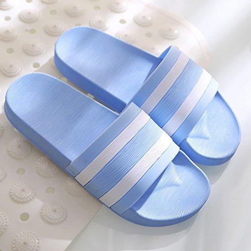 DogHaccd pantofole,Wet men cool pantofole estate femmina antiscivolo bagno spessa doccia estate piscina home coppie Pantofole Strisce-azzurro
