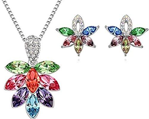 Da donna placcata oro, motivo: fiore multicolore, a fiocchi di neve, ghiaccio e collana con (Swarovski Crystal Fiocchi Di Neve)