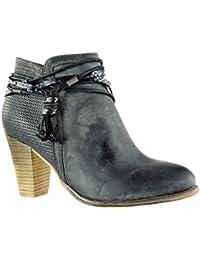 Angkorly - Zapatillas de Moda Botines cavalier low boots stile vendimia mujer trenzado tanga fleco Talón Tacón ancho alto 8 CM - Negro