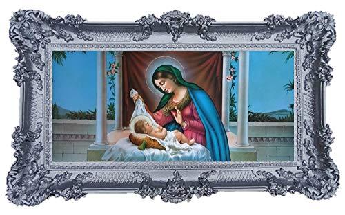 Geburt M2 Mutter Maria Jungfrau Madonna Mutter Gottes heilige Maria Ikonen Bild Repro Barock Antik Look gerahmtes Gemälde mit Ornamentverziehrungen in den Rahmen montiert Repro 96x57cm (Silber)