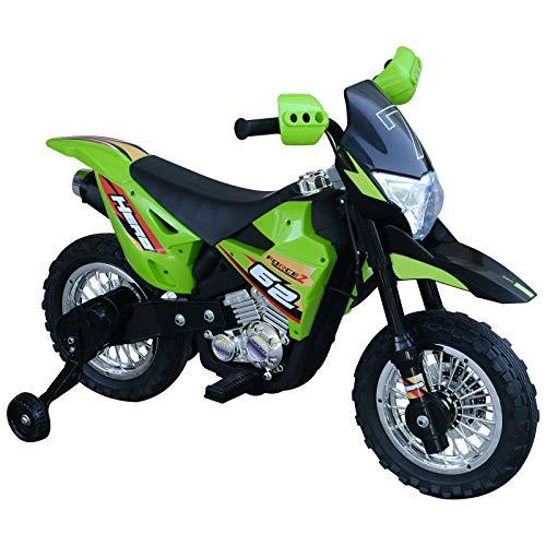 HOMCOM Elektro-Motorrad Kindermotorrad Elektrofahrzeug 3 bis 8 Jahre 3-7 km/h MP3 Musik LED-Licht Sound Metall + Kunststoff Grün 107 x 53 x 70 cm