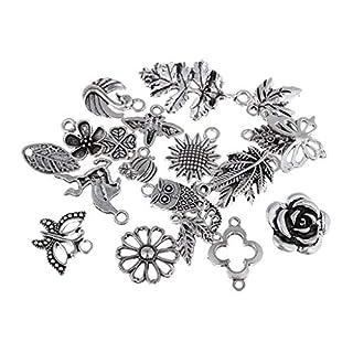 D DOLITY 100 Pcs Mixed Antique Charm Pendant Bulk Jewelry Necklace Making DIY Crafts