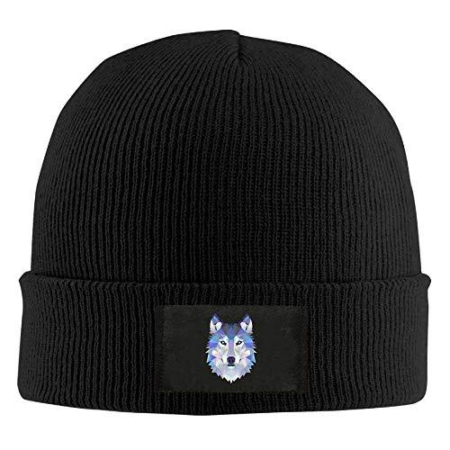 fboylovefor Wolf Animals Winter Warm Knit Hats Skull Caps Stretchy Cuff Beanie Hat Unisex Black