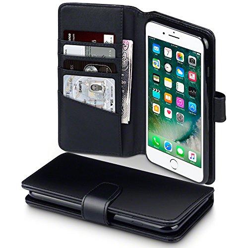 TERRAPIN, Kompatibel mit iPhone 8 Plus/iPhone 7 Plus Hülle, [ECHT Leder] Brieftasche Case Tasche mit Kartenfächer und Bargeld - Schwarz -