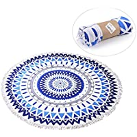 Zuoao Indien Mandala Serviette de Plage Ronde avec Franges Grande Taille Épaisse, Tapisserie de Plage Super Doux Microfibre avec Multi-usages Hippie Tapis de Yoga Beach