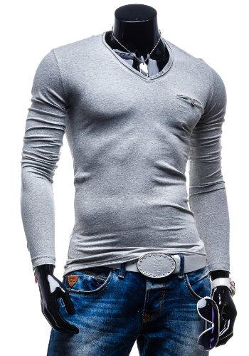 BOLF Herren T-shirt Figurbetont Langarm NEW! STEGOL 522 Grau