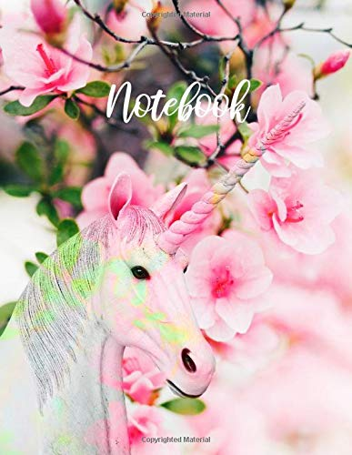 Notebook. Unicorn And Cherry Blossom Cover Design.