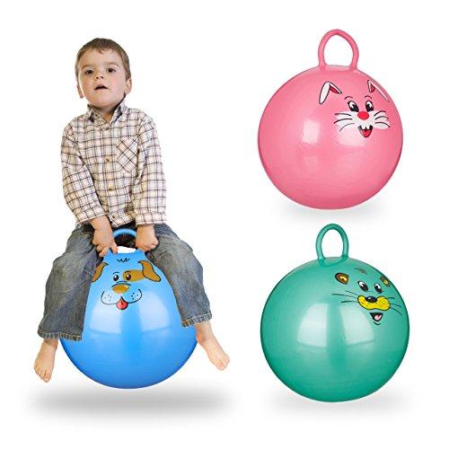 Relaxdays 3X Hüpfball Kinder im Set, mit Griff, für Drinnen und Draußen, mit Tier-Motiv, Weich, 45 cm Durchmesser, Blau, Grün, Pink