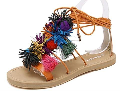 YCMDM-Troddel-Kugel-Sandelholz-Frauen-Fuß-Ring-Bindung-flache die neuen Art- und Weisesommer-Schuhe , orange ,