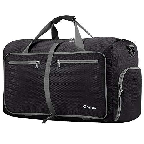 Gonex Leichter Faltbare Reise-Gepäck 80L, Farbe: Schwarz, Duffel Taschen Uebernachtung Taschen/ Sporttasche für Reisen Sport Gym Urlaub