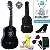 Stretton Payne Guitare acoustique pour enfants avec cordes en nylon Taille 1/4 78cm Quarter 1/4 31 inch noir