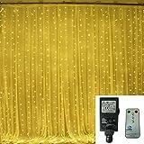 [Remote & Timer] Warmweiß 6 m x 3 m 600 LED-Vorhang-Licht 24V Niederspannung Plug-in Indoor & Outdoor-Partei-Hochzeit Dekorationen LED Eiszapfenlichter mit 8 Modi Controller