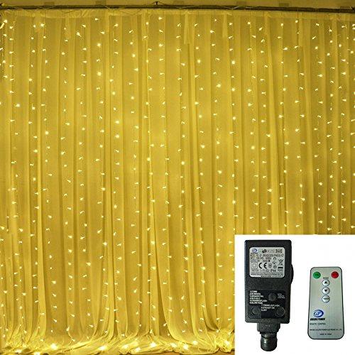 [Remote & Timer] Bianco caldo 6 m x 3 m 600 tende luci LED 24V bassa tensione Ul plug-in del partito decorazioni di nozze luci ghiacciolo Indoor & Outdoor LED con 8 modalità di controllo