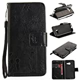 For Samsung Galaxy A3 2017 Case,Samsung Galaxy A320 Case [with Free Screen Protector], Qimmortal(TM) Magnetic Flip Book Style Cover Case ,High Quality Classic Elegant Couples Dandelion Pattern Design Premium PU Leather Folding Wallet Case With [Lanyard Strap] and [Credit Card Slots] Stand Function Folio Protective Holder Perfect Fit For Samsung Galaxy A3 2017/A320(Black)
