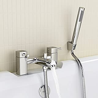 iBathUK | Square Bath Filler Mixer Tap with Modern Bathroom Shower Head TB65