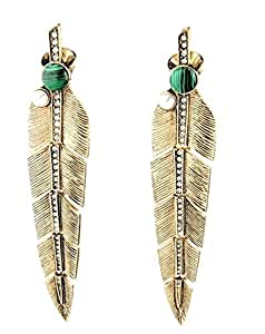 Bling N Beads Gold Plated Long Feather Partywear Earrings Gift for Her Christmas New Year