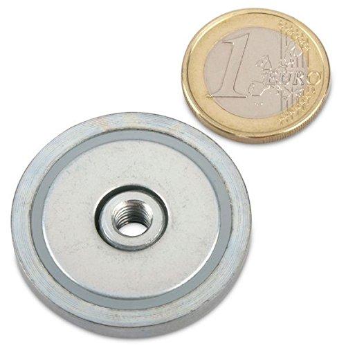 Neodym Flachgreifer Ø 36,0 x 7,5 mm, Innengewinde M6, 30 kg, Topfmagnet verzinkter Stahltopf, Magnet zum Anschrauben, Werkstattmagnet Industriemagnet