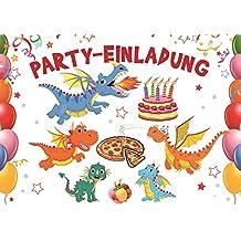 10 Er Set Lustige Drachen Einladungskarten Zum Kindergeburtstag  (10863)/Geburtstagseinladungen Jungen