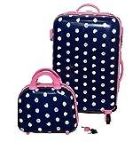 Camomilla Set Trolleye Beauty Case Rigido da Viaggio Valigia Bagaglio Blu Donna
