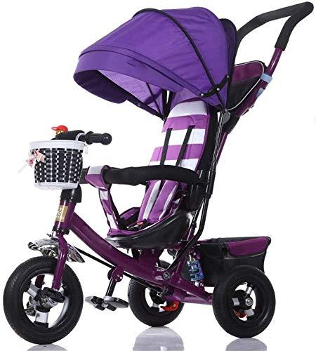 H.aetn Dreirad Kinderwagen Fahrrad Kind spielzeugauto Titanium Rad/Schaum Rad Fahrrad 3 räder, lila Faltbare (Junge/mädchen, 1-3-5 Jahre alt) Kind Spielzeug