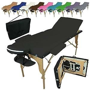 Vivezen Table de massage pliante 3 zones en bois avec panneau Reiki + Accessoires et housse de transport - 10 coloris - Norme CE - Noir