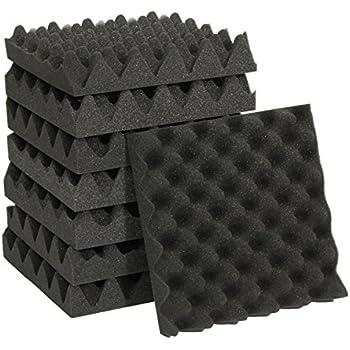 KING DO WAY Lot De 5 Pcs Isolant Isolation Acoustique En Mousse Forme Trous D'oeuf Pour Maison Chambre Studio De Musique Charcoal Acoustic Foam Wedge 25cmX25cmX5cm Noir