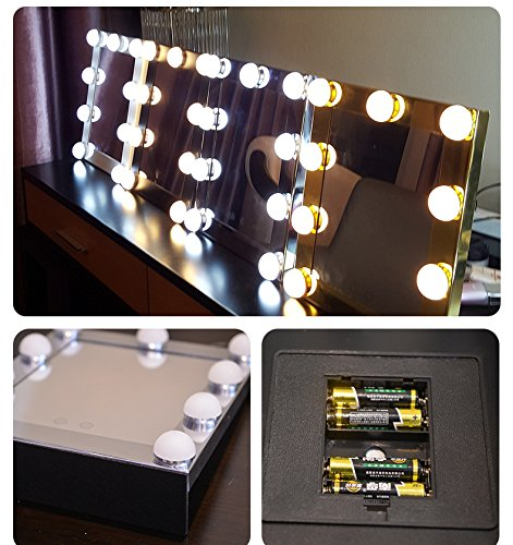 Schminkspiegel TOUCH Bildschirm mit 9Big-LED-Leuchtmittel Beleuchtete Spiegel Adjustbale Helligkeit - weiß - 3