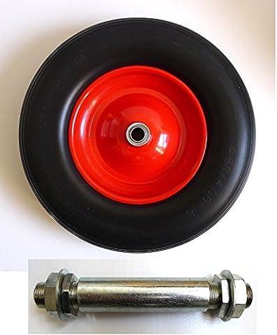 PU Schubkarrenrad 4.80/4.00-8 Ø390 mm stahlfelge inkl. Achse,