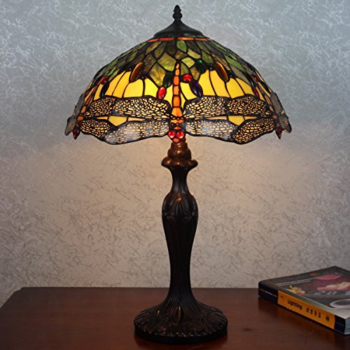 """Image of Mari Traditional Art Deco Tiffany Style Stained Glass Table Lamp 16"""" Shade"""